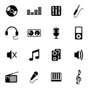 Vector Black  Music Icons Set - stock illustration