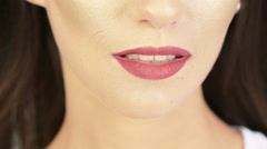 Close up of model lips making kissing faces. Slowly Stock Footage