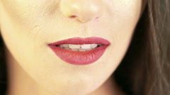 Close up of woman opening mouth. Slowly Stock Footage