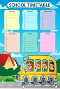 Weekly school timetable theme - eps10 vector illustration. - stock illustration