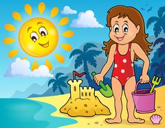 Girl playing on beach image - eps10 vector illustration. Stock Illustration