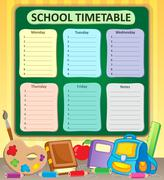 Weekly school timetable topic - eps10 vector illustration. Stock Illustration