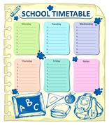 Weekly school timetable topic - eps10 vector illustration. - stock illustration