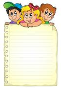 Notepad page with children theme - eps10 vector illustration. Stock Illustration