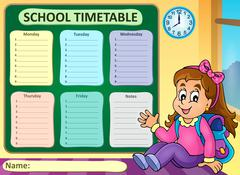 Weekly school timetable theme - eps10 vector illustration. Piirros