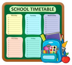 Weekly school timetable composition - eps10 vector illustration. Stock Illustration