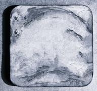 Square silver beer coaster backdrop - stock photo