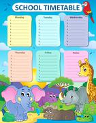 Weekly school timetable thematics - eps10 vector illustration. Stock Illustration