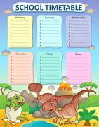 Weekly school timetable thematics - eps10 vector illustration. - stock illustration