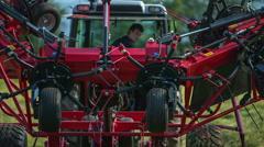 Unfolding a mower machine Stock Footage