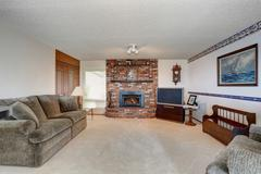 Cozy American living room with gray sofa, carpet floor and brick fireplace. Stock Photos