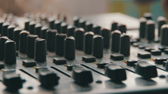 Working with Sound Mixing Console Stock Footage
