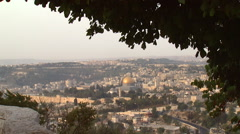 Jerusalem's Old City, beautifully framed by a tree - stock footage