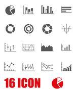 Vector grey diagrams icon set Stock Illustration