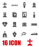 Vector grey funeral icon set Stock Illustration