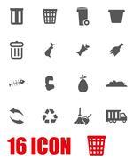 Vector grey garbage icon set Stock Illustration