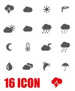 Vector grey weather icon set - stock illustration