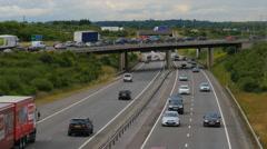 Traffic queuing to join motorway, 4K Stock Footage