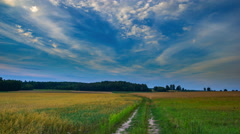 Sunset sky over rye field and sandy road in Poland.  - stock footage