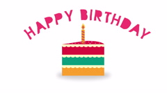 Nice animation of colorful birthday cake with flickering candle on top of it. Stock Footage