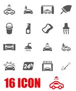Vector grey car wash icon set Stock Illustration