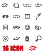 Vector grey optometry icon set - stock illustration