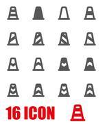 Vector grey traffic cone icon set - stock illustration