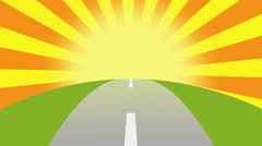 Animated road on a sunset with space for your object, text or logo Stock Footage