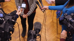 Press conference shot from above Journalism concept 03hh a - stock footage