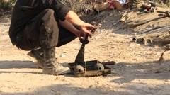Soldier is Discharging Bomb Stock Footage