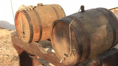 Wooden Oak Barrels For Beer, Wine, Whiskey, Ale Or Vodka Stock Footage