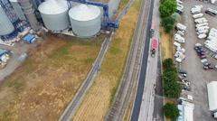 Aerial of Industrial Storage Tanks For Steel Factory Stock Footage
