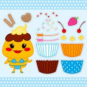 Cute Cupcake Paper Doll - stock illustration