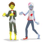Zombie Teen Boys - stock illustration