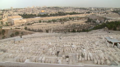 Jerusalem Mount of Olives Graveyard, Judaisms's holiest burial site Stock Footage