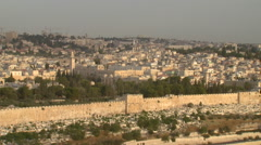 Jerusalem's Old City Wall, seen from the Mount of Olives Stock Footage