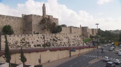 Jerusalem's Tower of David, western entrance to the Old City - stock footage