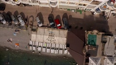 Hotels on the Black Sea in Crimea. The camera looks down and flies slowly. Stock Footage