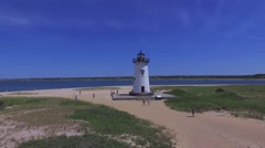 Marthas Vineyard - Drone - Edgertown Lighthouse Stock Footage