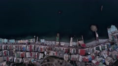 Hotels on the Black Sea in Crimea. Dron lowered slowly. The camera shoots down. Stock Footage