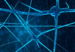 Blue glowing synapses in space, computer generated abstract background - stock illustration
