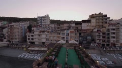 Hotels on the Black Sea in Crimea. The drone flew over the restaurant. Evening. Stock Footage