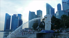 Asia Singapore Skyline Marina Bay Merlion Statue Financial district river Stock Footage