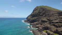 Makapuu Lookout Hawaii, Surf and Cliffs from Drone Stock Footage