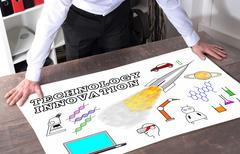 Concept of technology innovation on a desk - stock photo