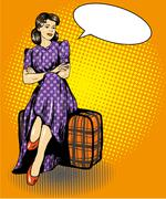 Beautiful woman sit on a bag. Vector illustration in comic retro pop art style Stock Illustration