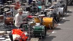 Old man plays the drums, Riga, Latvia Stock Footage