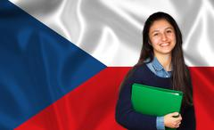 Teen student smiling over Czech flag Stock Photos