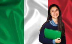 Teen student smiling over Italian flag Stock Photos