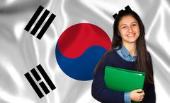 Teen student smiling over Korean flag Stock Photos